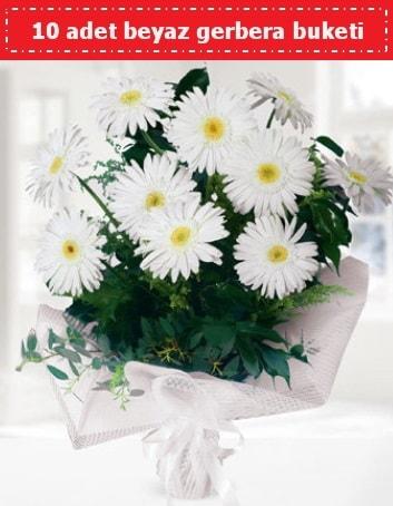10 Adet beyaz gerbera buketi  Kars çiçek online çiçek siparişi