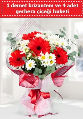Krizantem ve Gerbera Buketi  Kars güvenli kaliteli hızlı çiçek