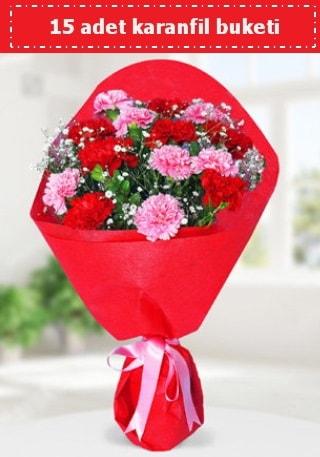 15 adet karanfilden hazırlanmış buket  Kars çiçek gönderme
