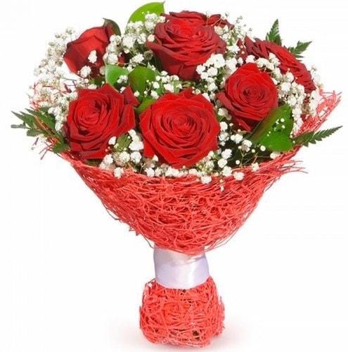 7 adet kırmızı gül buketi  Kars online çiçekçi , çiçek siparişi