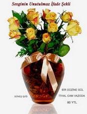 Kars yurtiçi ve yurtdışı çiçek siparişi  mika yada Cam vazoda 12 adet sari gül